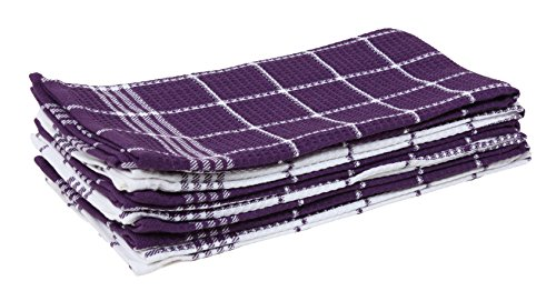 Cotton Waffle Checkered Terry Dish Towels, 18x25 Set of 6, Absorbent Durable Drying Cleaning Kitchen Towels-Eggplant Purple/White
