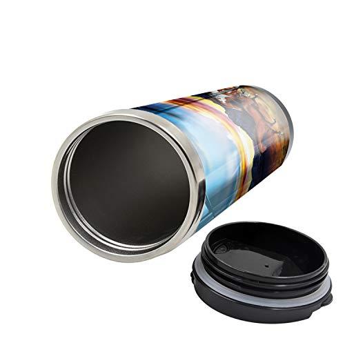 Lunarable Western Travel Mug, Running Wild Horses Sunset, Steel Thermal Cup, 16 oz, Brown Blue