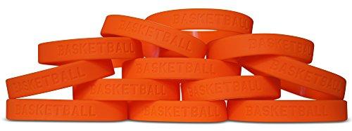 Novel Merk 12-Piece Kids Orange Basketball Party Favor & School Carnival Prize Sports Silicone Wristband Bracelet