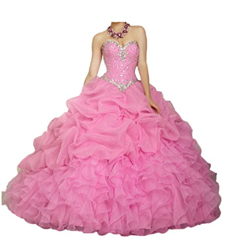 Chupen Ball Sweetheart Chupeng Silvery Beaded Ruffle Gown Quinceanera Pink Women's Gowns Prom Dresses BYdxTwnqrd