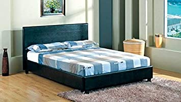 Ingenious Dark Brown Leather Bed Frame 135x190 Double Size 4ft6 Bed Frames & Divan Bases Furniture