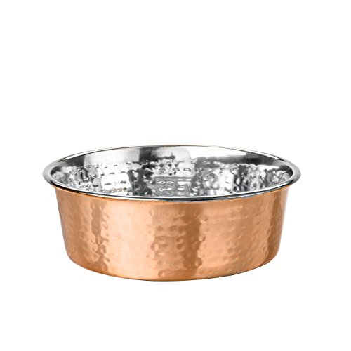 (NEATER PET BRANDS Hammered Copper Finish Pet Bowls - Deluxe Luxury Style Dog and Cat Dish (Medium))