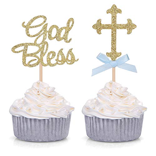 Gold Glitter God Bless and Cross Cupcake Toppers for Baptism Christening Party Decorations - 24 CT