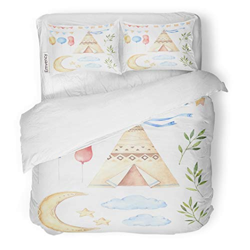 "Tarolo Bedding Duvet Cover Set Watercolor Kids Tent Moon and Stars Balloons Floral Branches Garlands Ideas for Children Room Baby Party 3 Piece Twin 68""x90"" Quilt Cover with Zipper Closure"