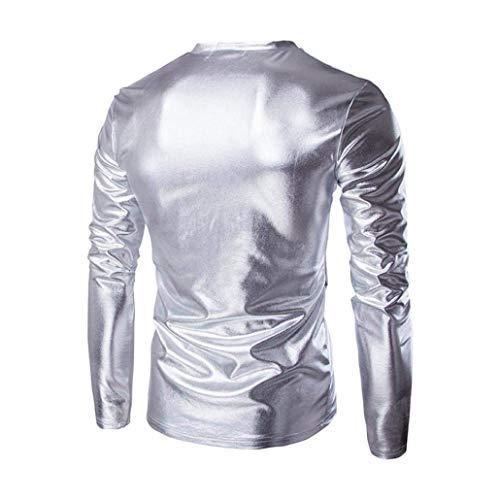 neck Party À Métallisé Fit shirt Homme Tee Mens Slim Manches Effet Silber Top Vintage Blouse Longues V Gold qA7pZ