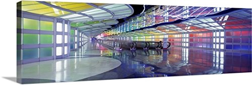 Canvas On Demand Premium Thick-Wrap Canvas Wall Art Print entitled United Airlines Terminal Passageway O'Hare Airport Chicago IL - Il Airport Chicago