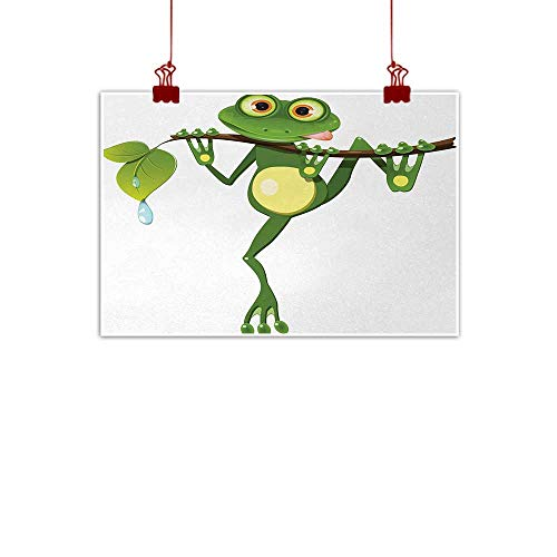 duommhome Animal Simulation Oil Painting Little Frog on Branch of The Tree in Rainforest Nature Jungle Life Art Earth Decorative Painted Sofa Background Wall W24 xL20 Green White Yellow