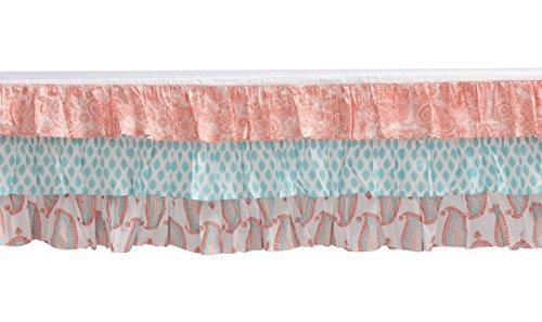 Bacati - Sophia Paisley Girls Crib Baby Bedding Set (Coral/Aqua, 6 pc Crib Bedding Set)