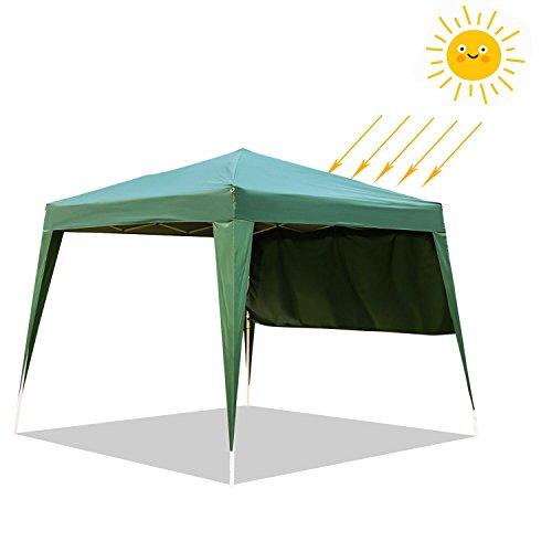 Kinbor 10'x10′ Ez Pop-up Portable Commercial Instant Folding Outdoor Canopy Wedding Party Tent Gazebo with One Single Sidewall and Carrying Bag, Green