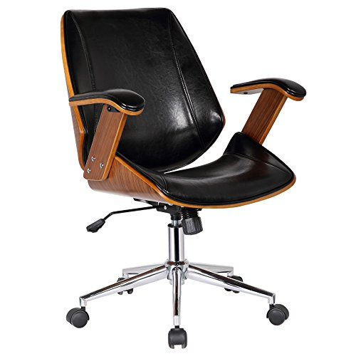 Porthos Home SKC012A BLK Noah Adjustable Chair with 360̊ Swivel, Steel Base with Caster Wheels, Armrests and Bi-cast Leather Upholstery (Suitable for Home and Office Use), One Size, Black