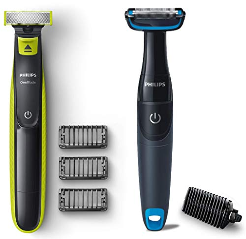 Philips QP2525/10 OneBlade Hybrid Trimmer and Shaver with 3 Trimming Combs (Lime Green) & Philips BG1025/15 Showerproof…