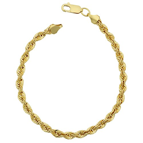 Kooljewelry 14k Yellow Gold Filled Men's 4.2 mm Rope Chain Bracelet (8.5 inch) ()