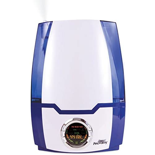 Air Innovations MH-505-BLUE 1.37 Gal. Cool Mist Digital Humidifier for Large Rooms – Up to 400 Sq. Ft - White/Blue