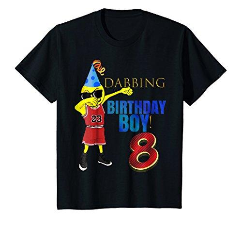 Kids 8 YR OLD Dabbing Emoji Basketball Birthday Boy Party Shirt