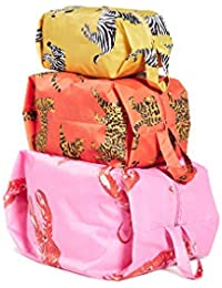 3D Zip Set, Expandable Nylon Zip Pouch 3 Pack For Travel And Organization, Fancy Animal