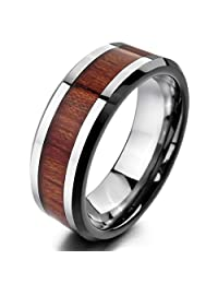 INBLUE Men's Tungsten Wood Ring Band Silver Tone Brown Comfort Fit