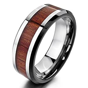 INBLUE Men's Tungsten Wood Ring Band Silver Tone Brown Comfort Fit Size7