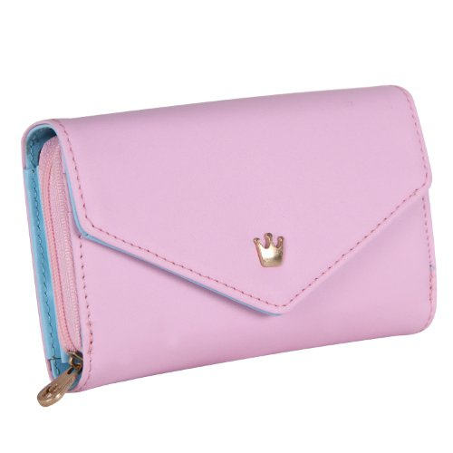 Functional Women Ladies Card Crown Holder Wallet Leather Clutch Purse Bag(pink)