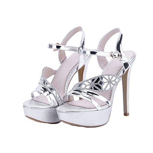 Sky-Pegasus 2018 Summer Women Fashion High Heels Sandal Sexy Platform Party Dress Sandal Woman Size 33-43,Silver,10
