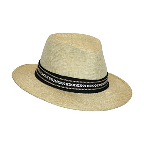 Light Natural Panama Sun Hat, Festival Summer Fedora, 3 Inch Wide Brim, Aztec Band