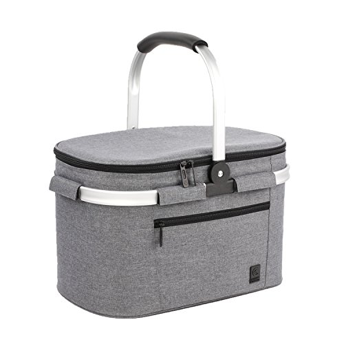 - ALLCAMP Large Size Insulated Cooler Bag Folding Collapsible 22L Picnic Basket with Sewn in Frame (Grey)