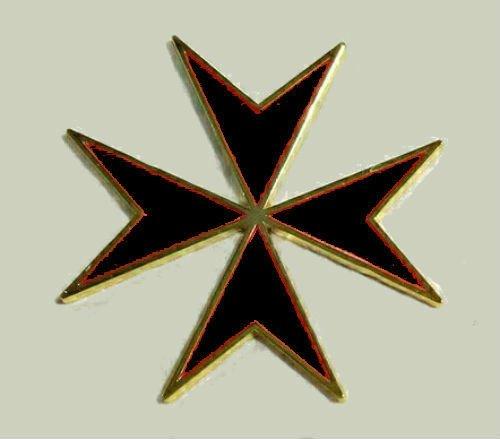 (Medieval Malta Maltese Black Cross Crusade Knight Medal Badge Pin War Battle KT)
