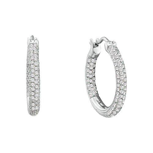 - 14K White Gold Pave Set Diamond Inside Out Hoop Earrings 1/2 Ctw.
