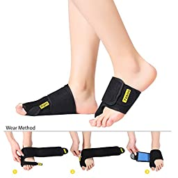 Bunion Splint Corrector for Hallux Valgus Protector, Big Toe Alignment Soft Bunion Brace for Nightime Pain Relief and Surgery Treatment, 1 Pair, Black