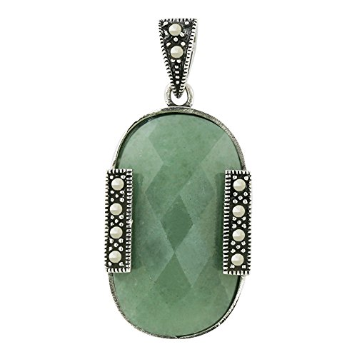 925 Sterling Silver with Marcasite Natural Green Jade Pendant-18 inches chain included