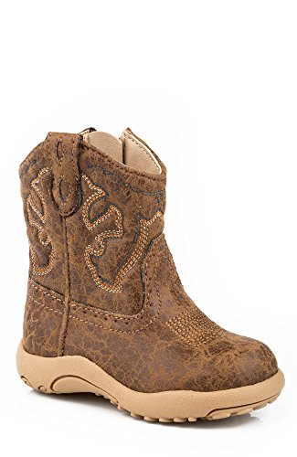 Roper Scout Square Toe Basic Cowboy Boot (Infant/Toddler/Little Kid/Big Kid), Tan, 4 M US Toddler
