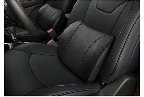 Asiento de coche soporte lumbar reposacabezas cuello almohada ergonomica almohada ortopedica cojin de silla de asiento de coche-espuma lumbar negra