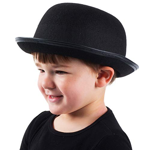 Bowler Hat Halloween Costume (Funny Party Hats Kids Derby Hat - Bowler Hat for Kids - Black Bowler Hat - Felt Bowler Hat - Children's Costume)