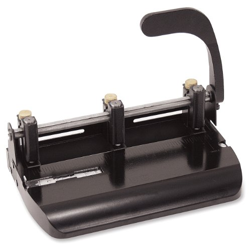 Officemate Heavy Duty Adjustable 2-3 Hole Punch with Lever Handle, 32-Sheet Capacity, Black -