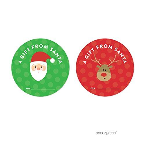 Andaz Press Christmas Collection, Round Circle Gift Label Stickers, A Gift From Santa To From, Red and Green, 40-Pack