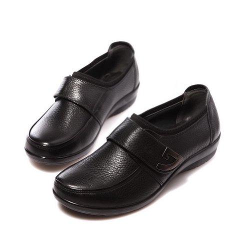 Voguezone009 Meisjes Vrijetijdskrans Velcro Gesloten Teen Rundlederen Loafers Schoenen Zwart