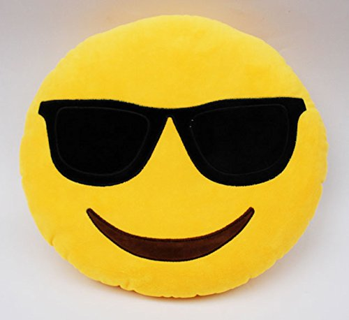 33cm Emoji Smiley Emotion Round Throw Pillow Stuffed Plush Soft Toy - 2
