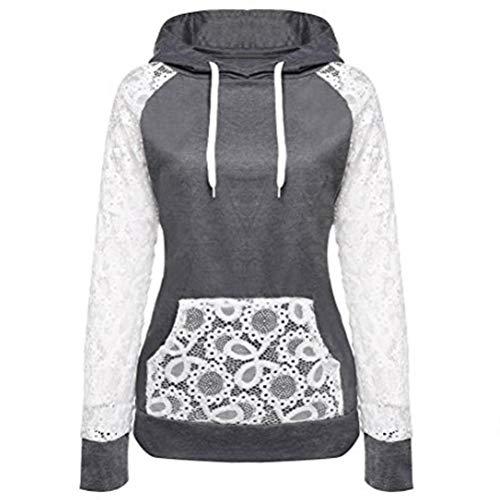 OCASHI Women Girl Hoodies, Lace Patchwork Drawstring Hooded Sweatshirt Long Sleeve Front Pocket Pullover (M, Dark Gray)