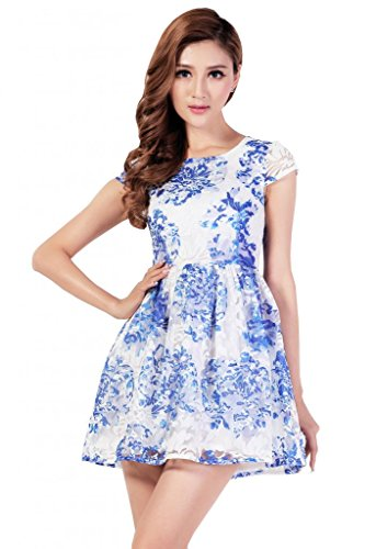 Beautifulmall Women's Short Sleeves Organza Flower Cocktail Party Mini Dresses