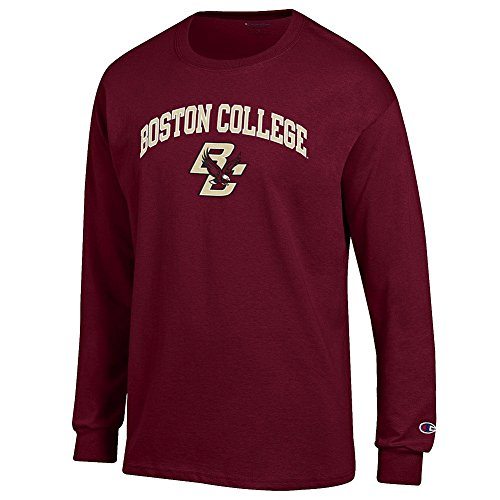 Elite Fan Boston College Eagles Men's Long Sleeve Arch Tee Shirt, Garnet, Large