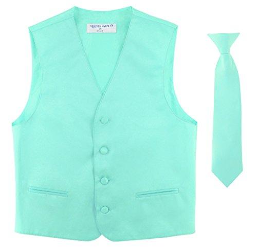 eckTie Solid AQUA GREEN Color Neck Tie Set size 14 ()
