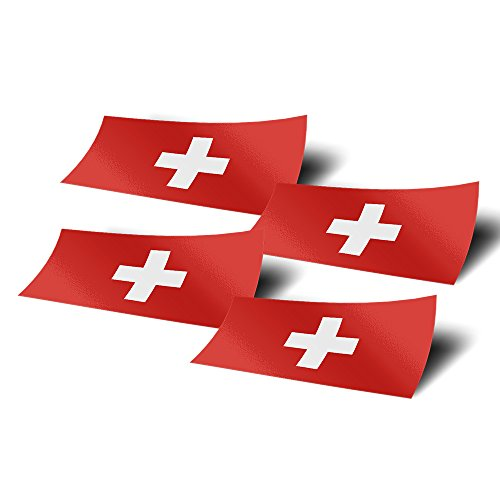 (Switzerland 4 Pack of 4 Inch Wide Country Flag Stickers Vinyl Decal for Window Laptop Computer Car Scrapbook Swiss 4)