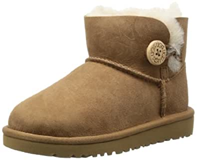 UGG Australia Children's Mini Bailey Button Toddler Fleece Lined Boots,Chestnut,US 11 Child US