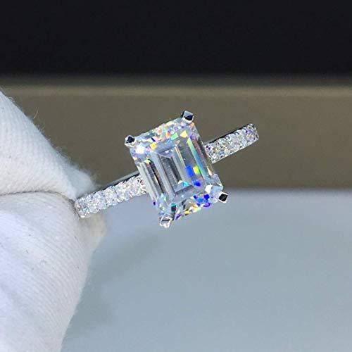 (Moissanite Engagement Ring 2.0 Carats Colorless VVS1 Emerald Cut 14K 18K White Gold Rose Gold Yellow Gold Platinum)
