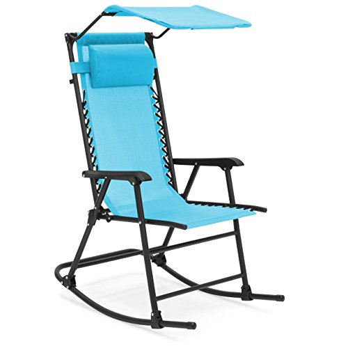 Best Choice Products Foldable Zero Gravity Rocking Patio Chair w/ Sunshade Canopy – Blue For Sale