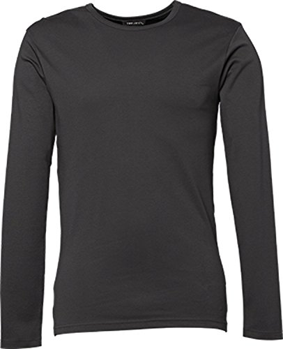 TJ530 Mens Longsleeve Interlock T-Shirt, Farbe:Dark Grey (Solid);Größen:XXL XXL,Dark Grey (Solid)