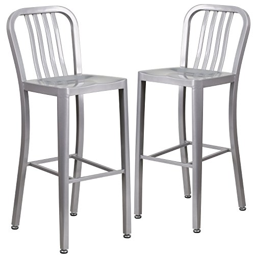 - Flash Furniture 2 Pk. 30'' High Silver Metal Indoor-Outdoor Barstool with Vertical Slat Back
