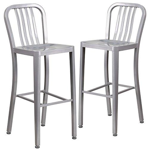 Flash Furniture 2 Pack 30 High Silver Metal Indoor-Outdoor Barstool with Vertical Slat Back –