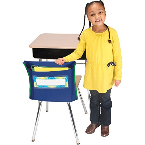 Really Good Stuff Store More Deep Chair Pockets - Set of 6, Vibrant Navy Blue Color - Deep-Pocket Chair Organizers Keep Students Organized and Classrooms Neat