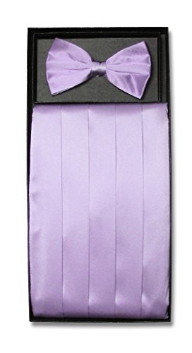 Lilac Cummerbund (SILK Cumberbund & BowTie Solid LILAC PURPLE Color Men's Cummerbund Bow Tie Set)