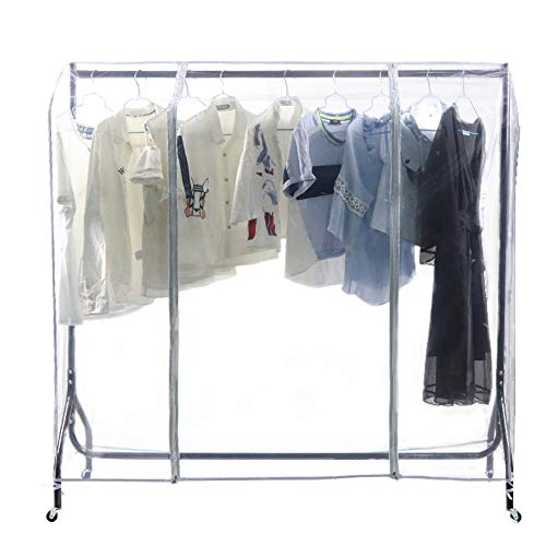 59 L Clear Transparent Clothing Rack Cover Dustproof Garment Shoulder Rack Covers Home Bedroom Clothing Dustproof Waterproof Protector with Durable Zipper and Roomy Pocket (M:59x20x52 inch)